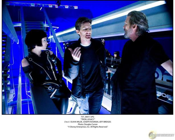 Production Still from Tron Legacy with Olivia Wilde, Joseph Kosinski and Jeff Bridges