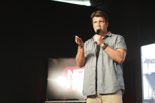 Nathan Fillion took Zac's place sitting in on panels Saturday during HQ to spare the Broadway star's vocal cords.