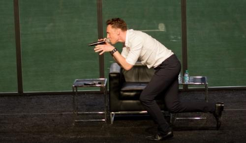 Tom Hiddleston as a dinosaur!  (Photo credit: Sean Connelly)